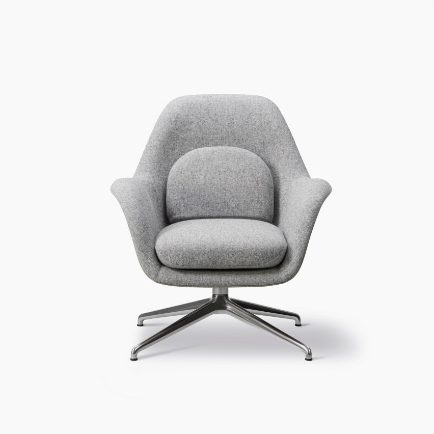A Swoon lounge chair with a swivel base by Space Copenhagen for Fredericia