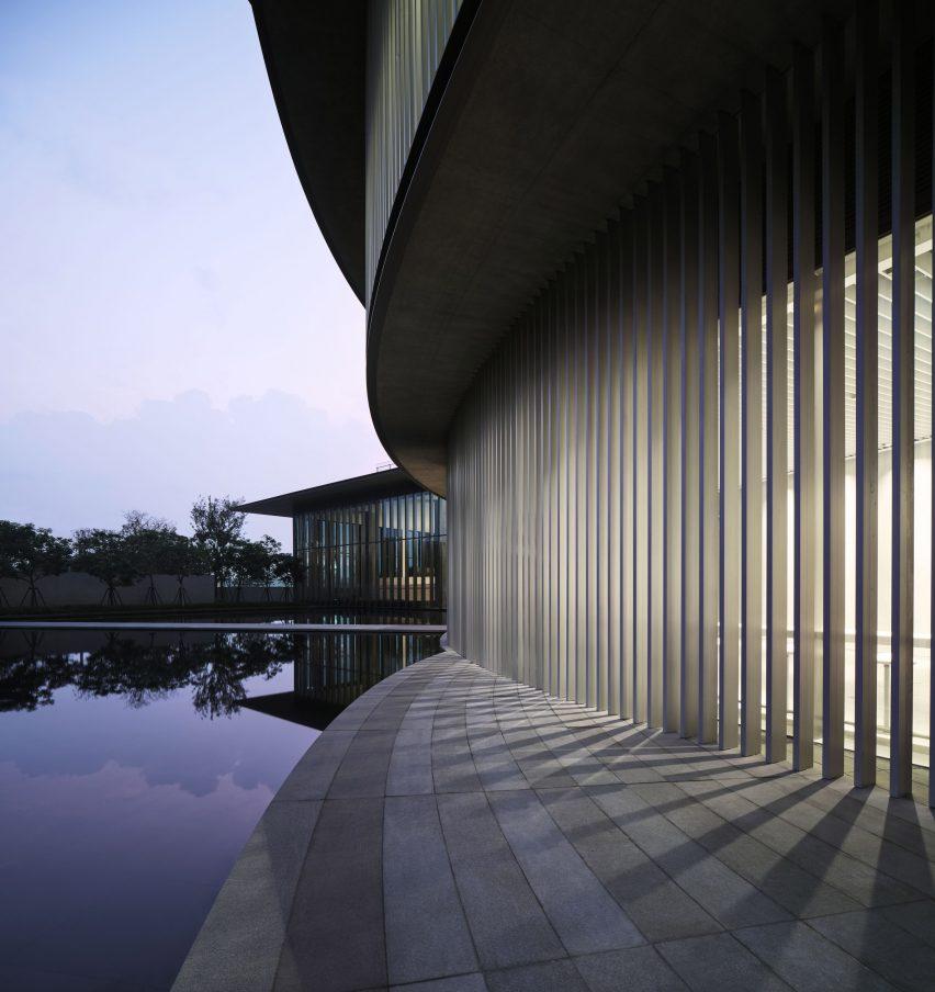 A pond adjacent to the He Art Museum by Tadao Ando