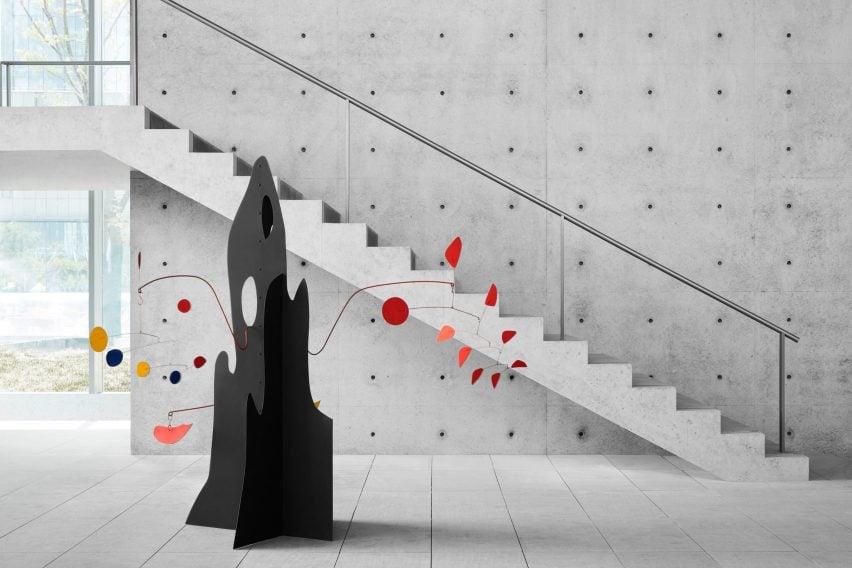 Concrete gallery inside He Art Museum by Tadao Ando