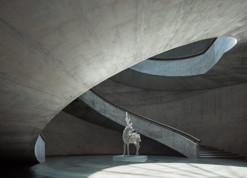 The central courtyard inside Tadao Ando's He Art Museum in China