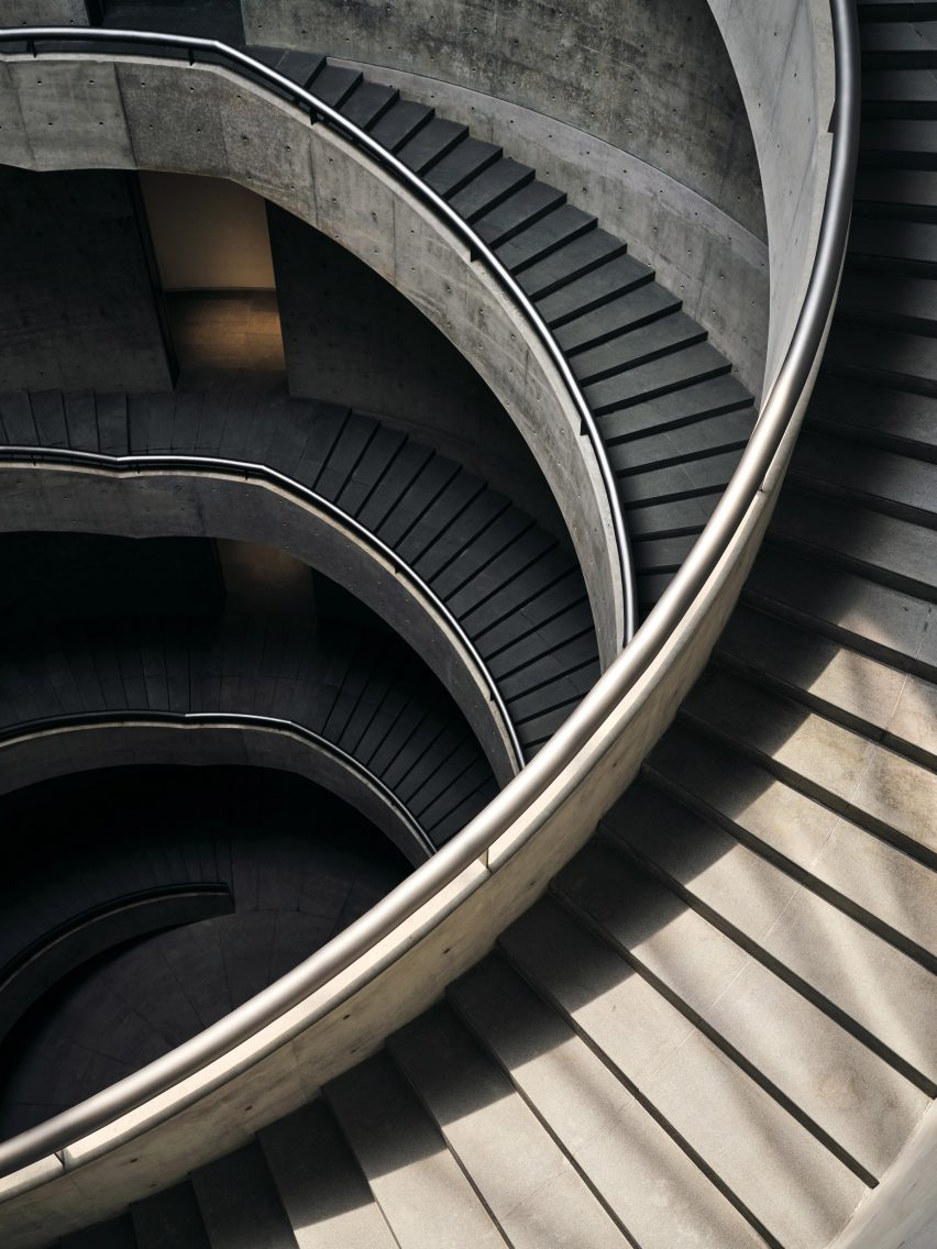 The helical staircases inside He Art Museum's central courtyard
