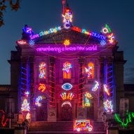 Chila Kumari Singh Burman overwrites Tate Britain's neoclassical facade with neon Diwali installation
