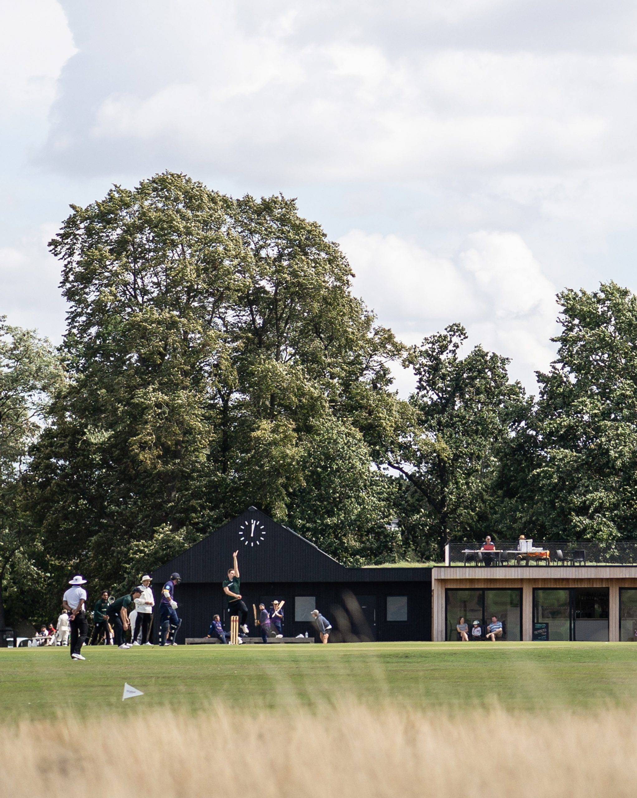 Cricket pavilion with roof top terrace