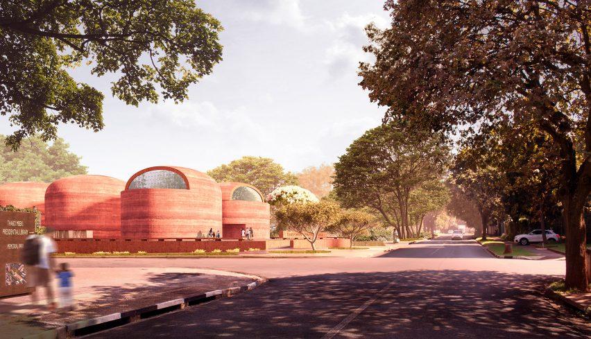Street view of Adjaye Associates' proposed Thabo Mbeki Presidential Library