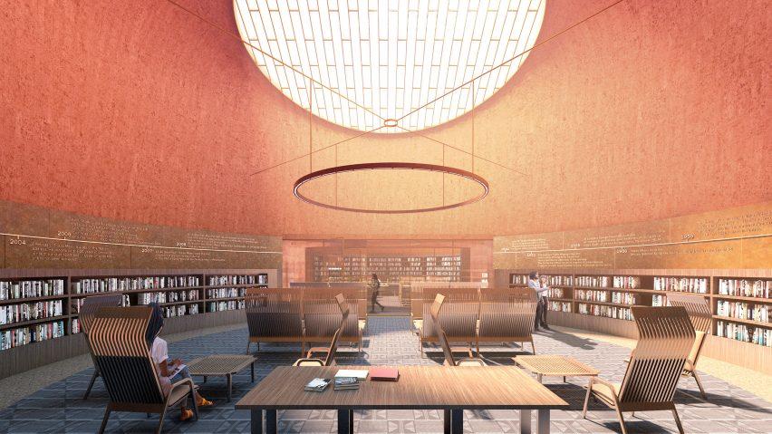 A reading room inside of Adjaye Associate's proposed Thabo Mbeki Presidential Library