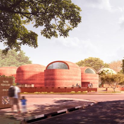 The exterior of Thabo Mbeki Presidential Library proposal by Adjaye Associates