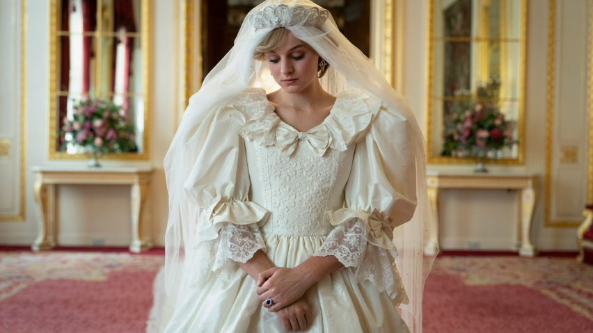 Emma Corrin as Princess Diana at her wedding in The Crown season 4
