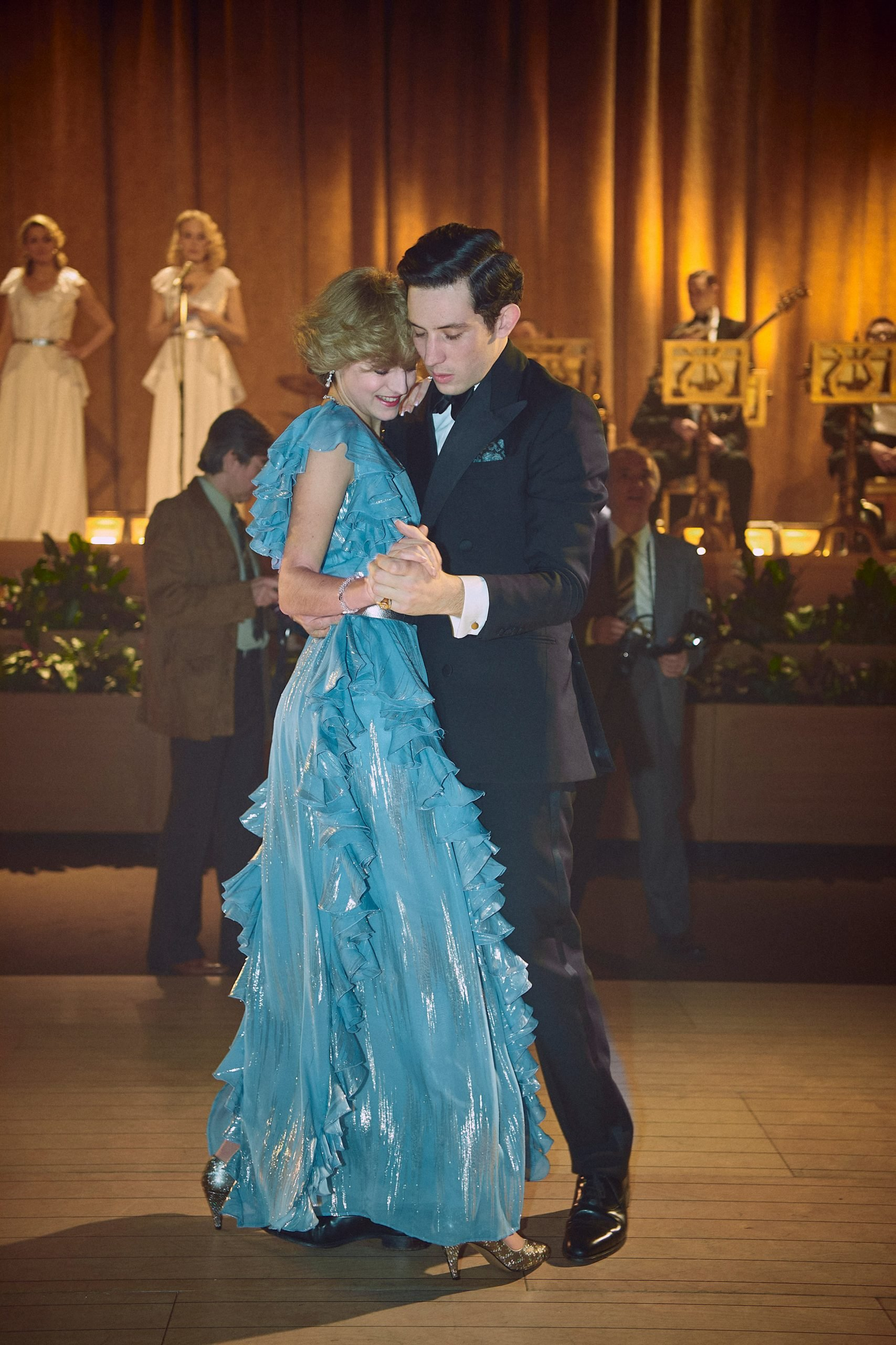Josh O'Connor as Charles and Emma Corrin as Diana dancing in The Crown season 4
