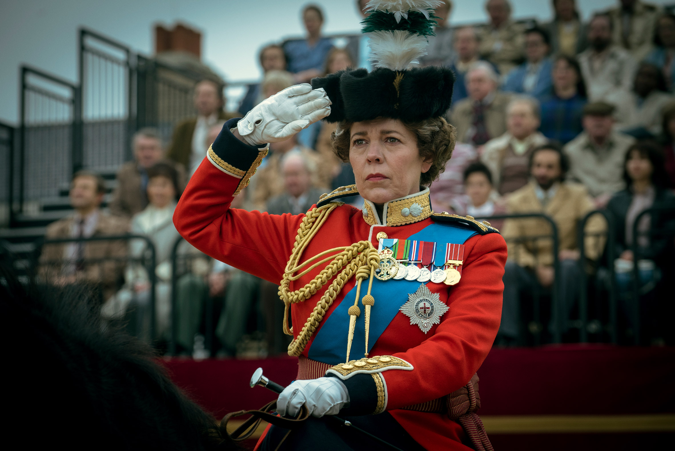 Olivia Coleman as the Queen during the Trooping of the Colour in The Crown season 4