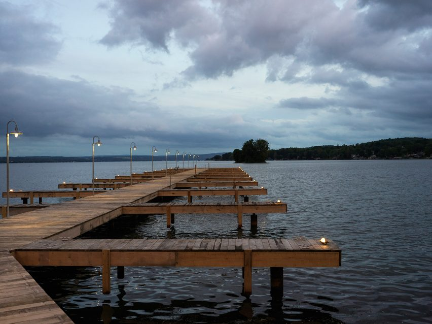 Boardwalk in The Lake House on Canandaigua hotel by Studio Tack and the Brooklyn Home Company