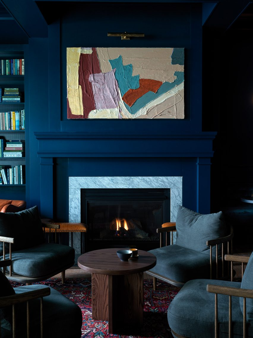 Library in The Lake House on Canandaigua hotel by Studio Tack and the Brooklyn Home Company