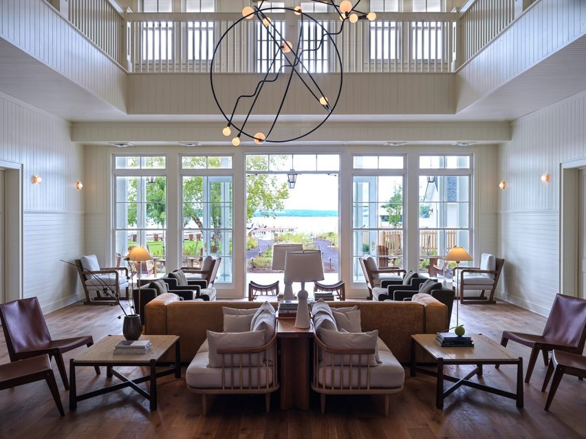 Lobby in The Lake House on Canandaigua hotel by Studio Tack and the Brooklyn Home Company