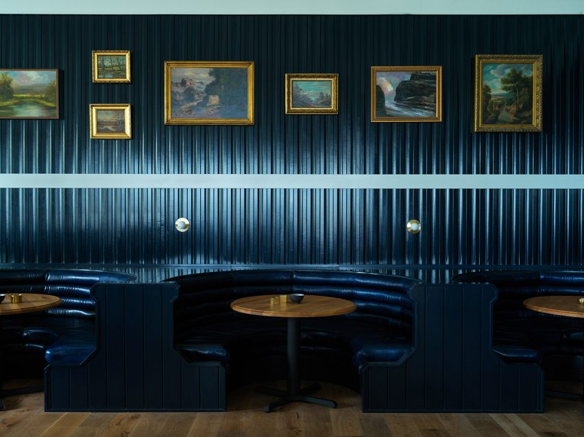 The Rose Tavern restaurant in The Lake House on Canandaigua hotel by Studio Tack and the Brooklyn Home Company