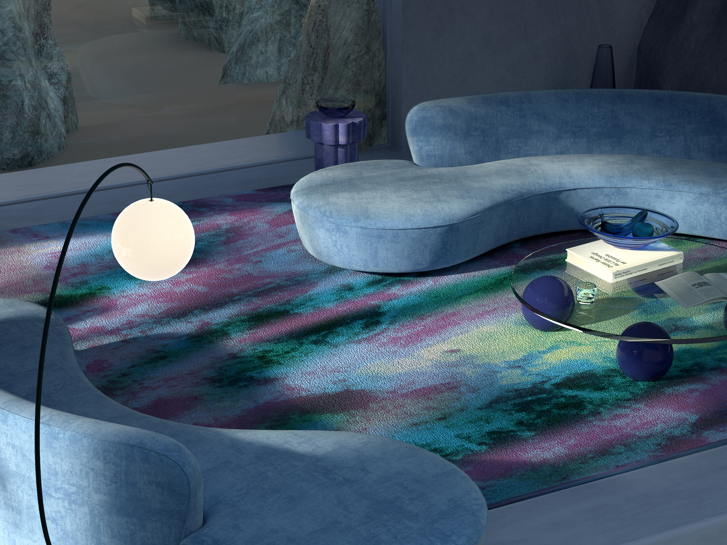 Render of Aurora carpet from Chromatic collection by Tsar Carpets