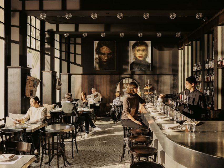 Bar in Volkshaus Basel Hotel by Herzog & de Meuron