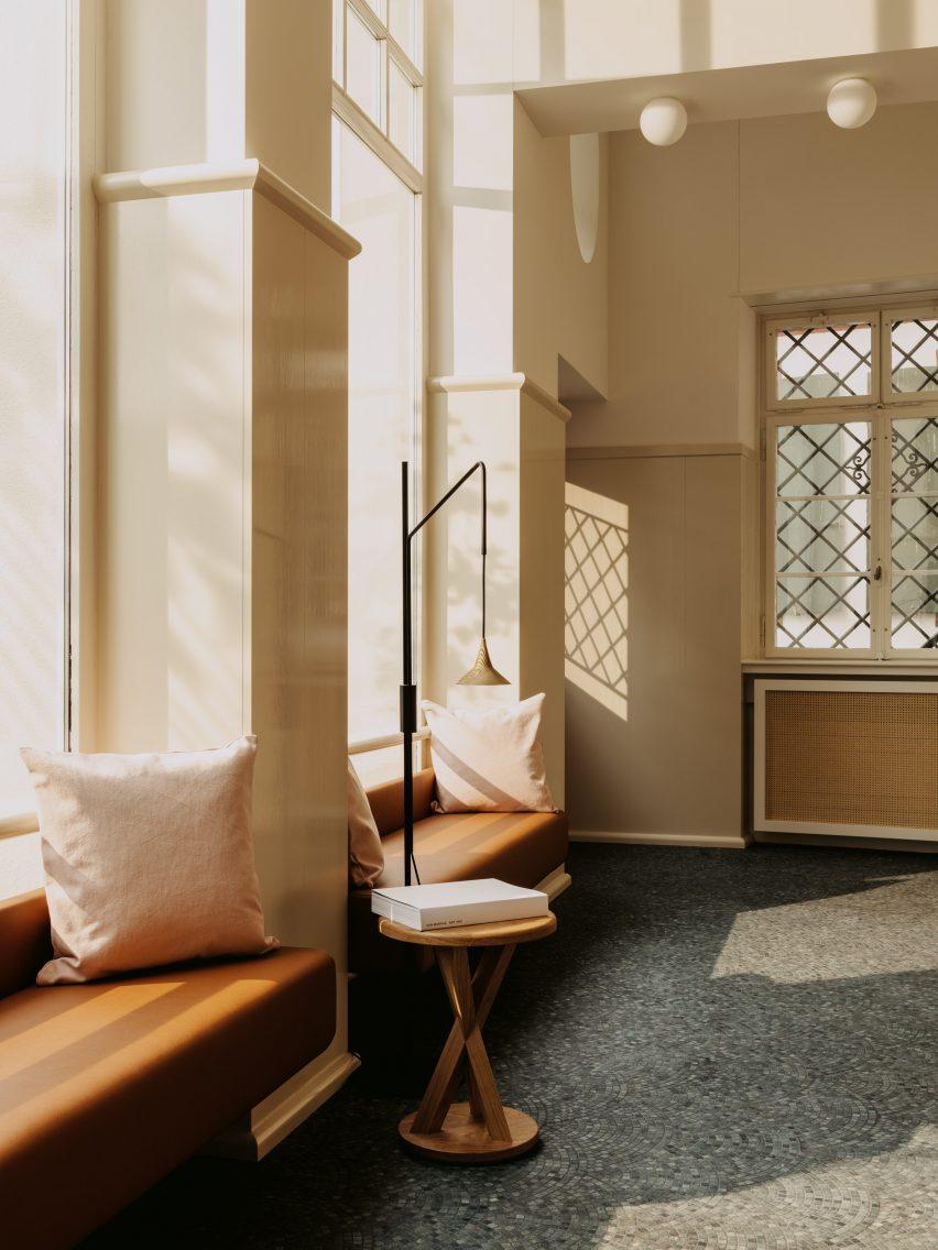 Lobby in Volkshaus Basel Hotel by Herzog & de Meuron