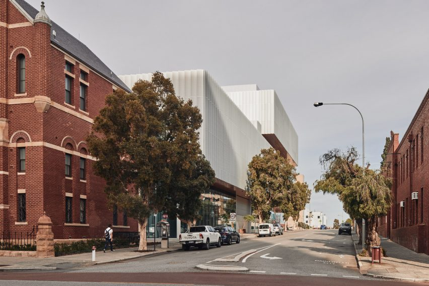 A street view of the WA Museum Boola Bardip by OMA and Hassell