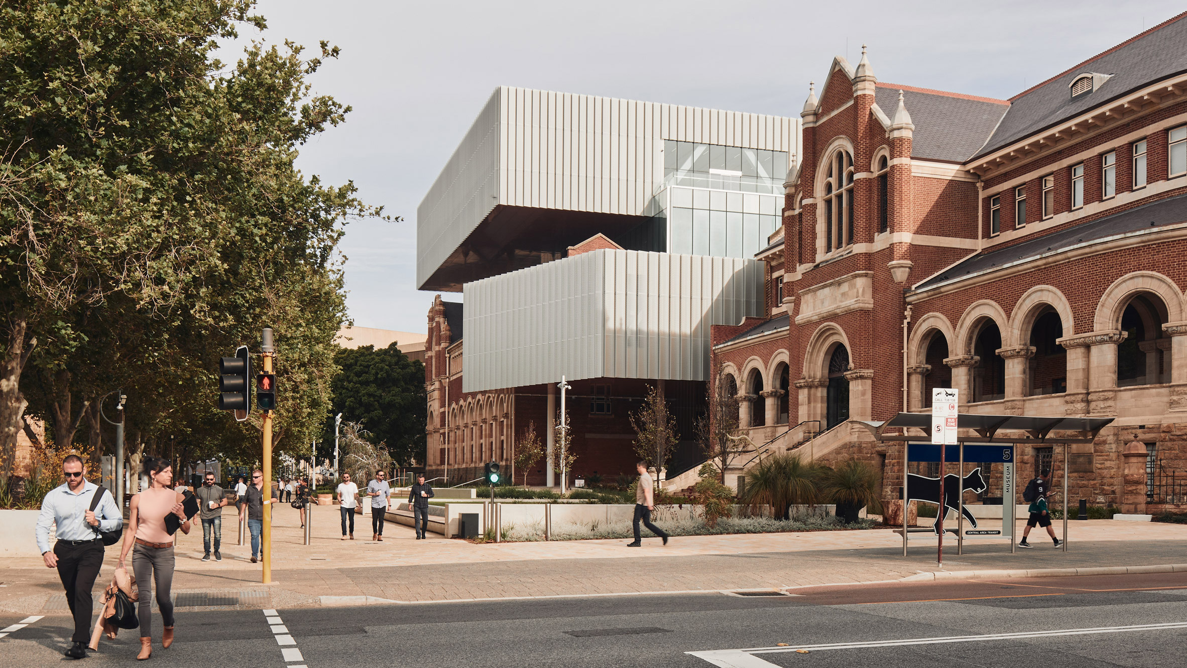 Street view of WA Museum Boola Bardip in Perth by OMA and Hassell