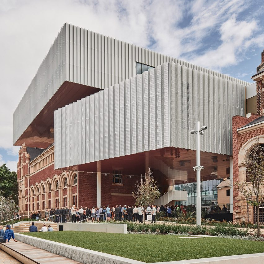 The front facade of WA Museum Boola Bardip in Perth by OMA and Hassell