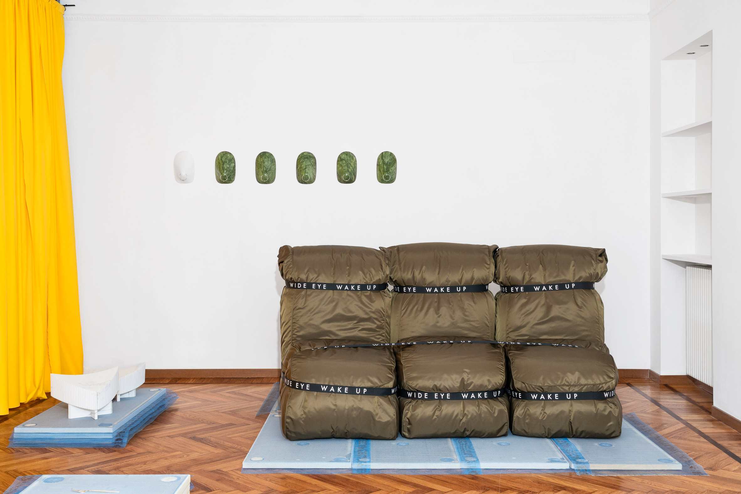 The Wide Eye Wake Up sofa, Perky wall-hangings and Gunnol lamps by Older studio and Alexander Vinther