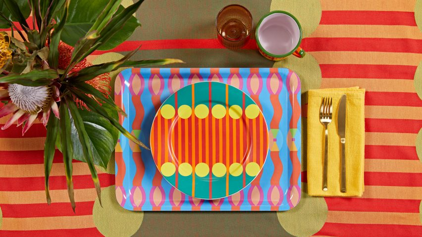 Omi tray and Aami Aami plate and tablecloth
