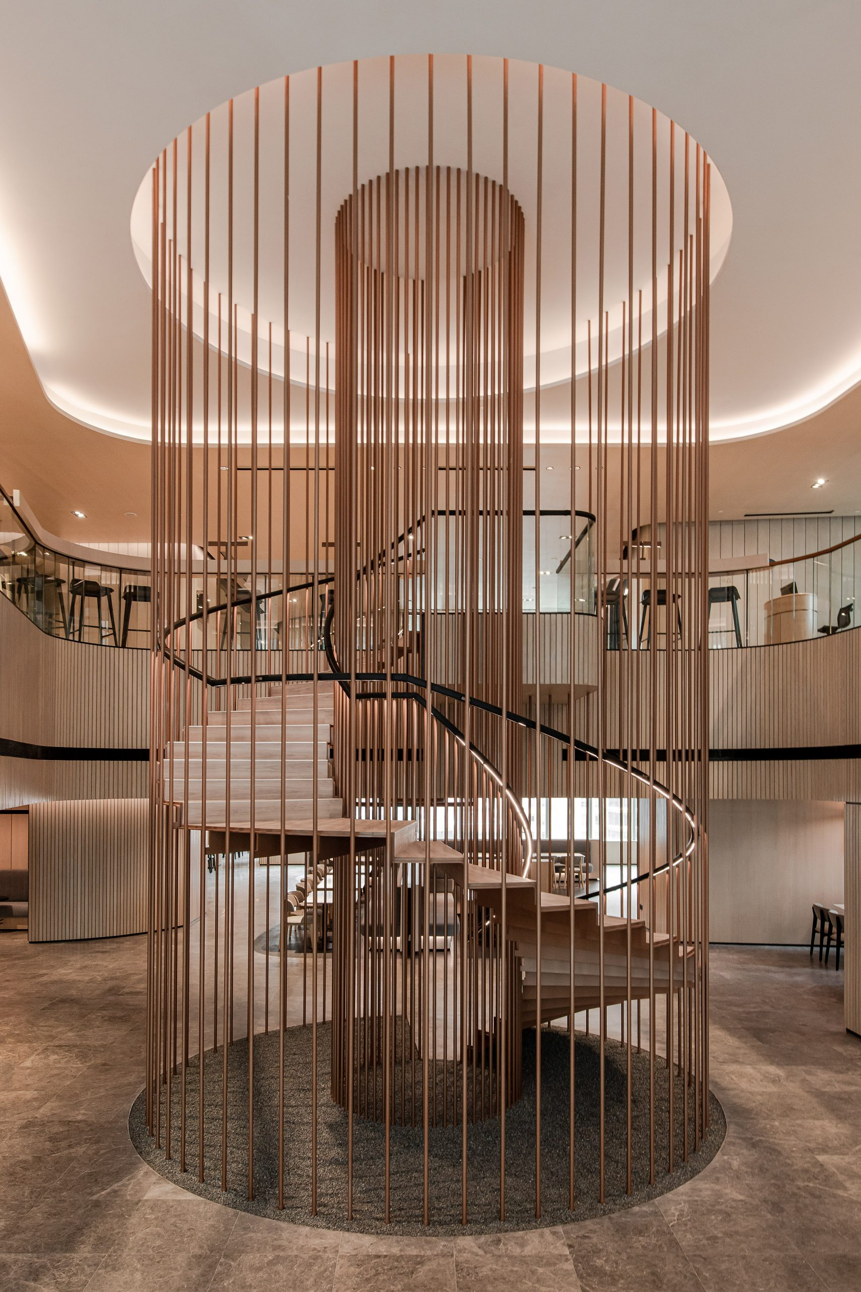 The staircase by Ministry of Design inside YTL Headquarters in Kuala Lumpur