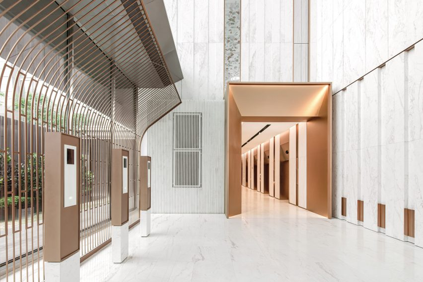 The entrance lobby by Ministry of Design in the YTL Headquarters in Kuala Lumpur