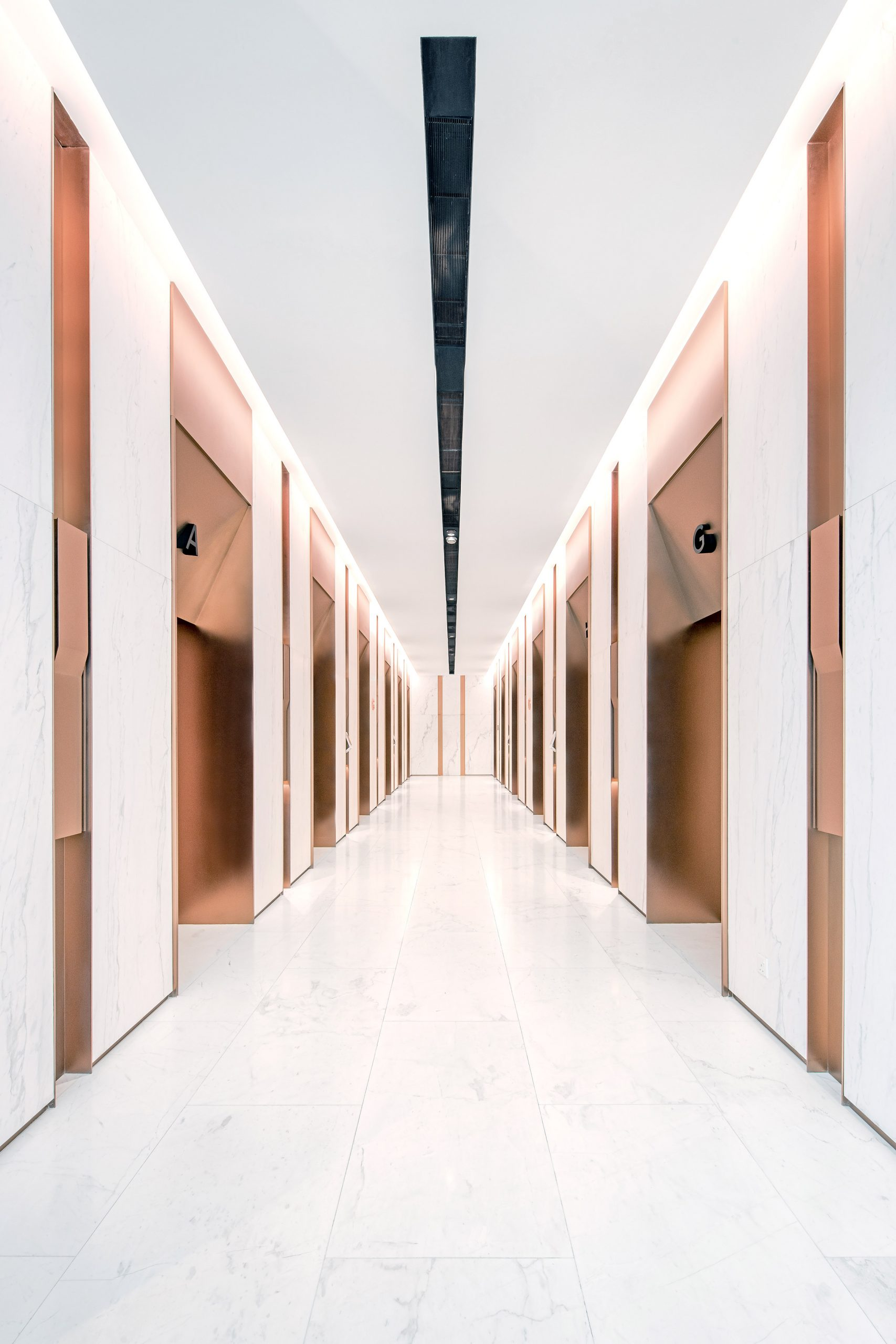 The lift lobby by Ministry of Design in the YTL Headquarters in Kuala Lumpur