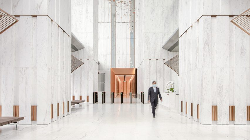Entrance lobby of the YTL Headquarters in Kuala Lumpur, Malaysia.