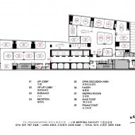 Floor plan for Level 10 meeting spaces by Ministry of Design inside YTL Headquarters in Kuala Lumpur