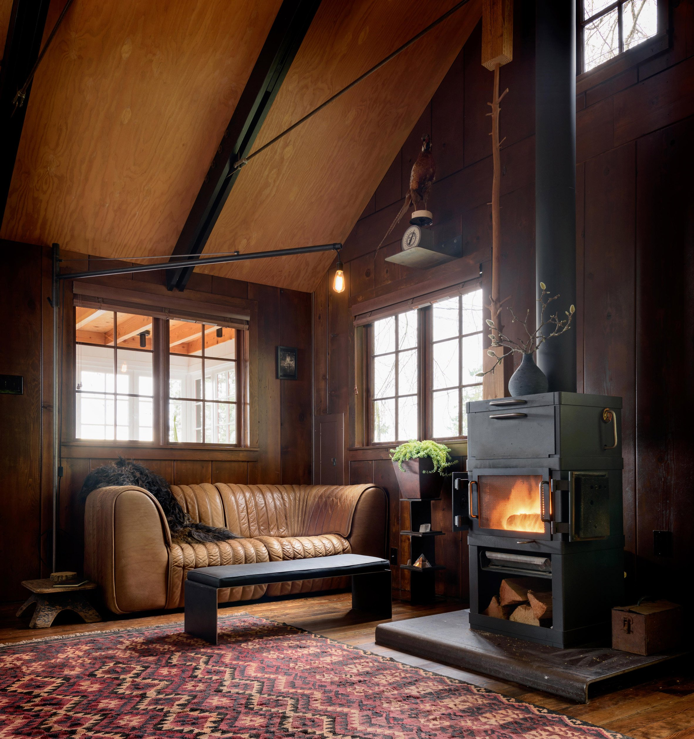 Fireplace of Agate Pass Cabin by Olson Kundig Architects
