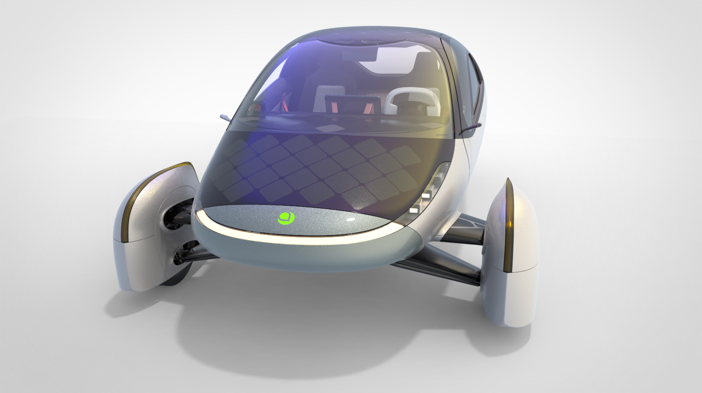 Render of the three-wheeled solar and electric Aptera vehicle