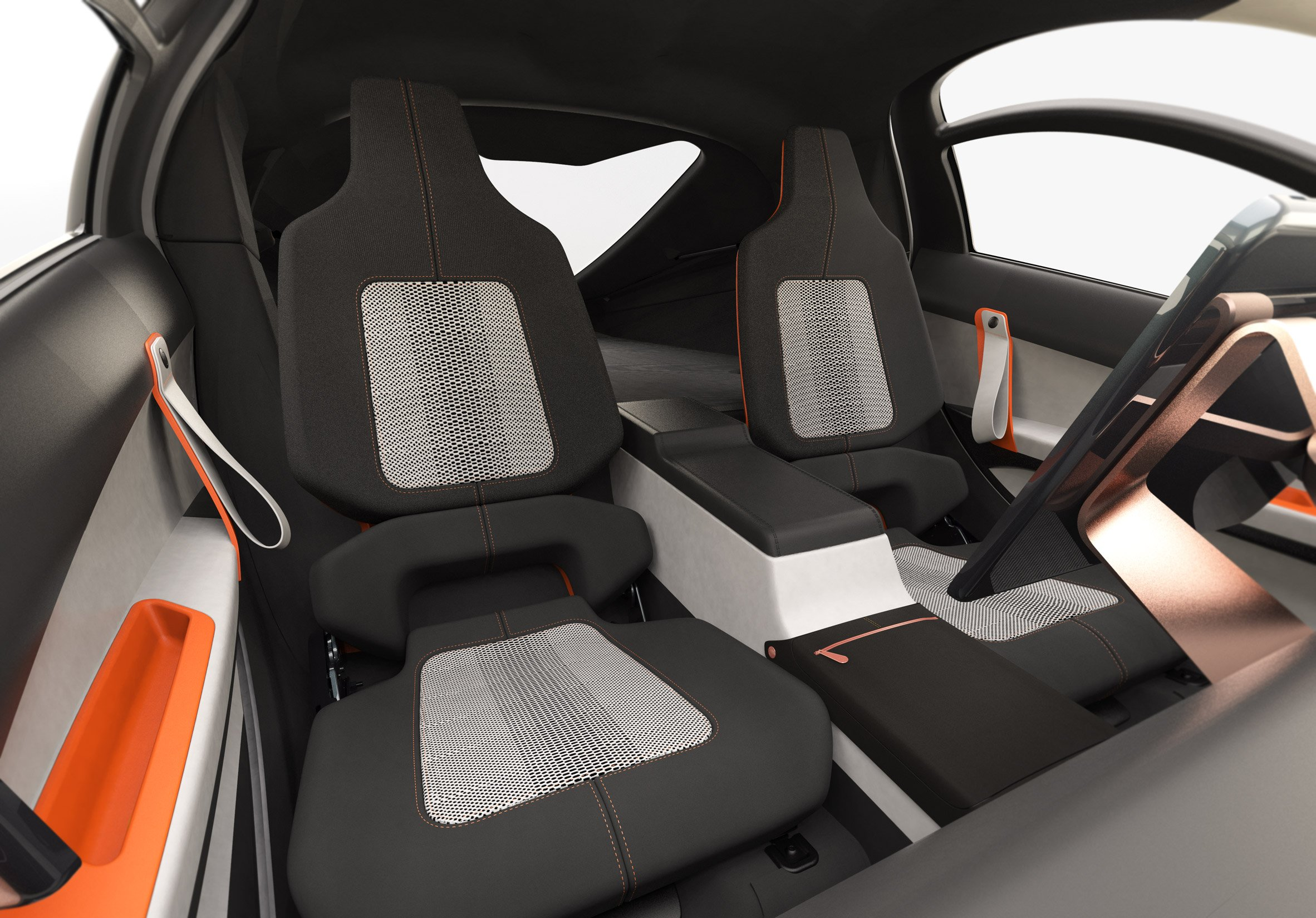 Interior view of the three-wheeled solar and electric Aptera vehicle