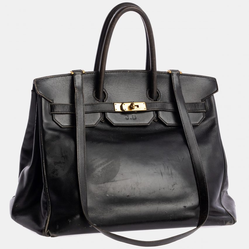 Jane Birkin's Birkin bag by Hermes from the Bags: Inside Out exhibition at the V&A