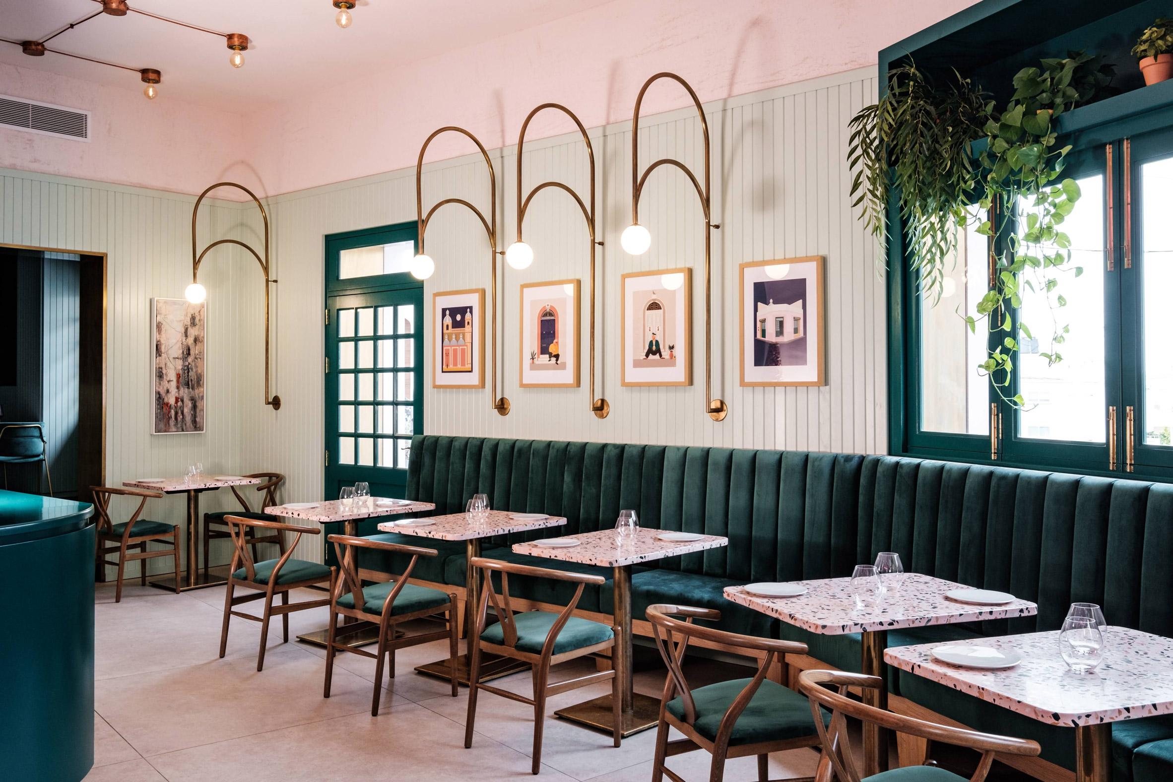 Green-velvet seating features in Malta's Barbajean restaurant
