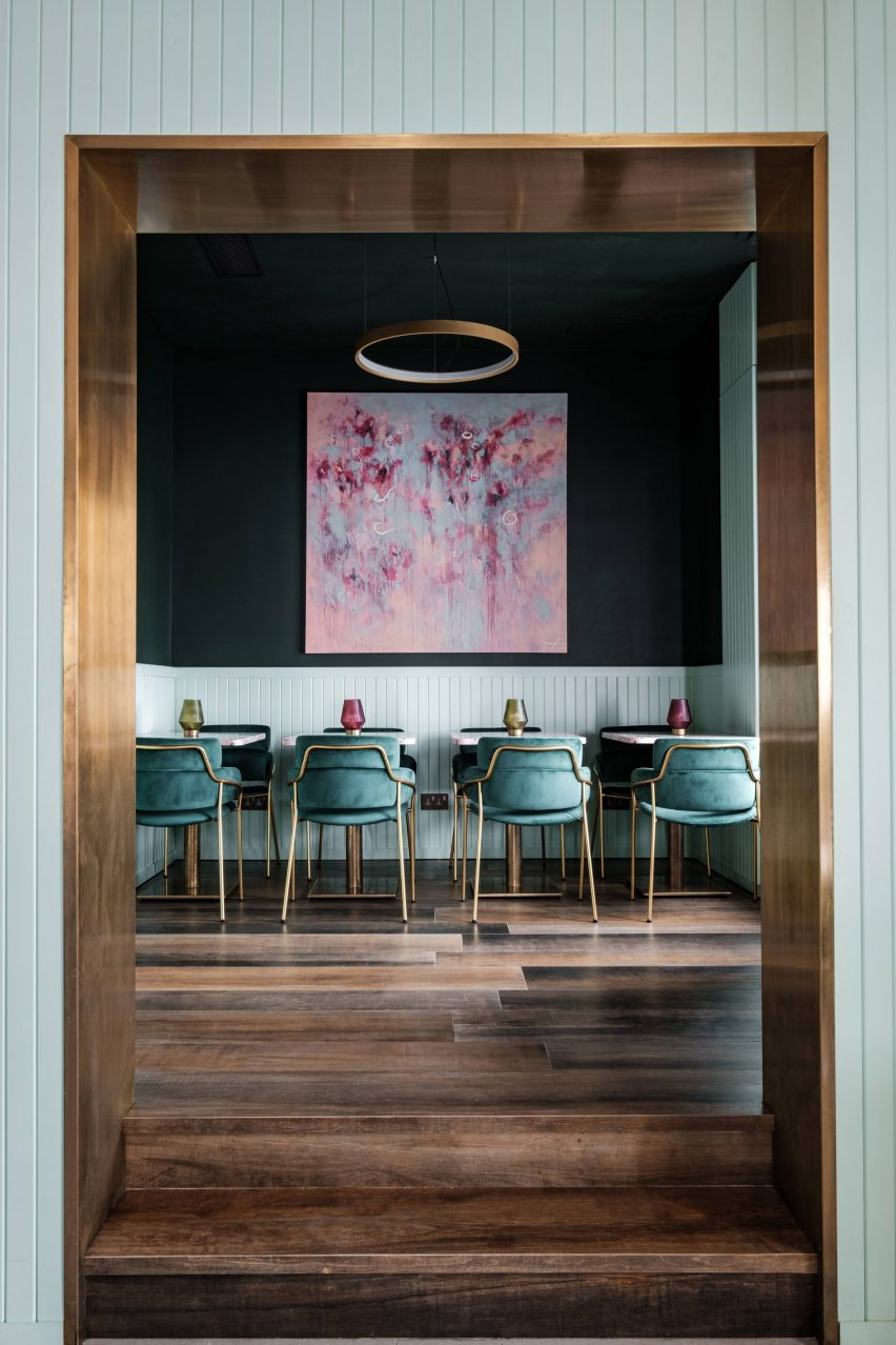 Barbajean restaurant in Malta has a pink and green interiors