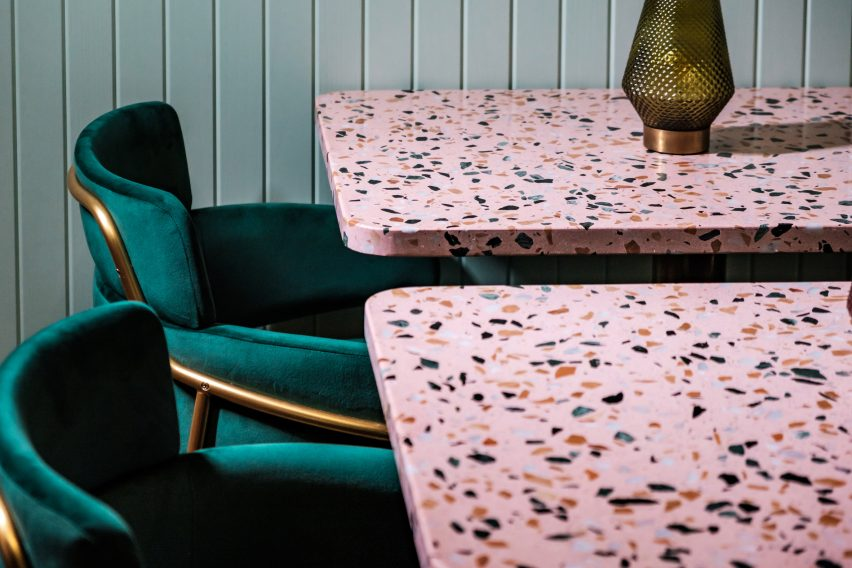 Pink terrazzo tables and velvet chairs feature in Malta's Barbajean restaurant
