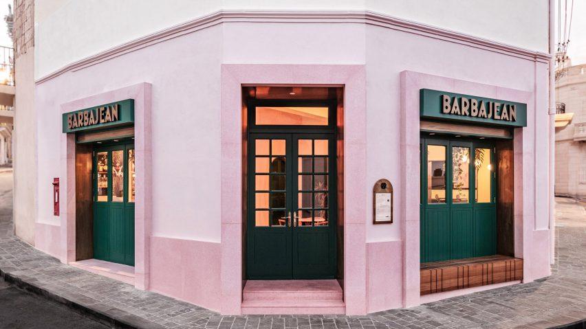 Barbajean restaurant in Malta has a pink facade