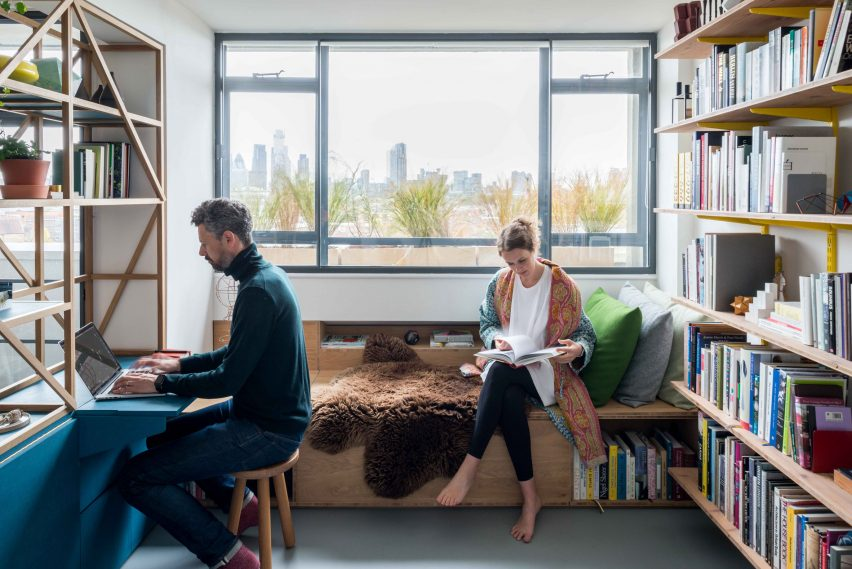 Living room of architect Ben Allen's London flat includes window seat