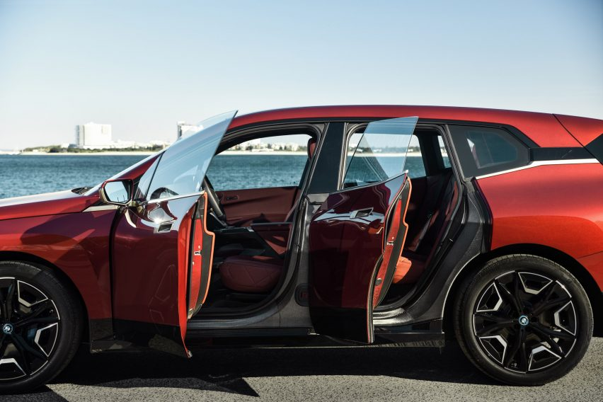 The fully electric iX concept car by BMW in red