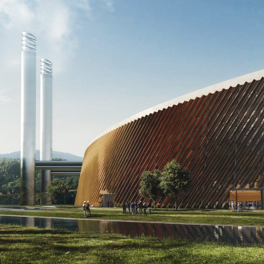 A visual of Shenzhen East Waste-to-Energy Plant in China by Schmidt Hammer Lassen Architects