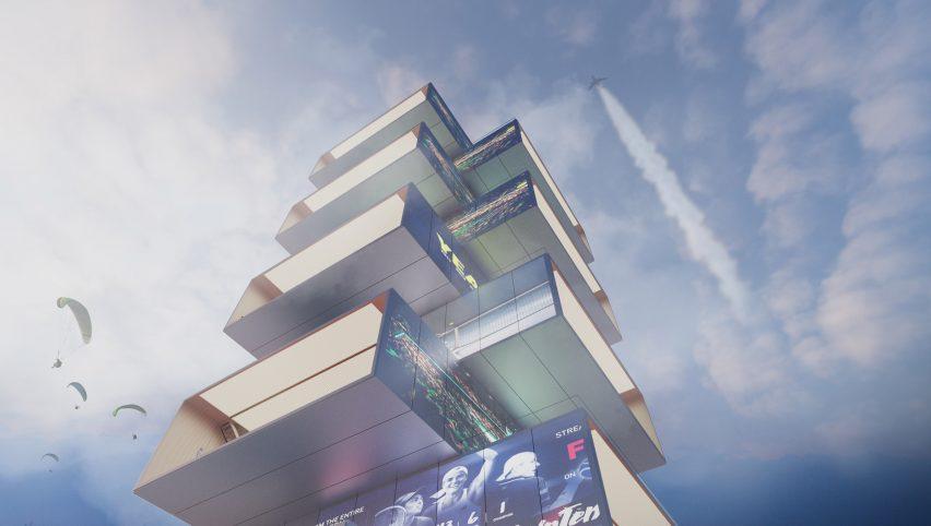 View from below of Playscraper by Carlo Ratti Associati