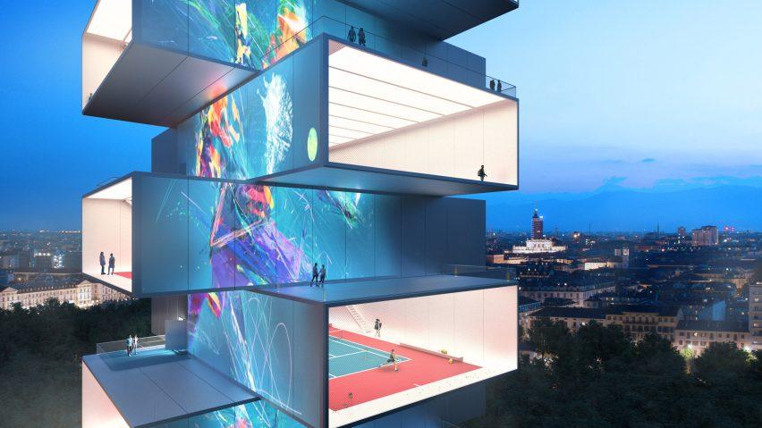 Playscraper tennis tower by Carlo Ratti Assocati