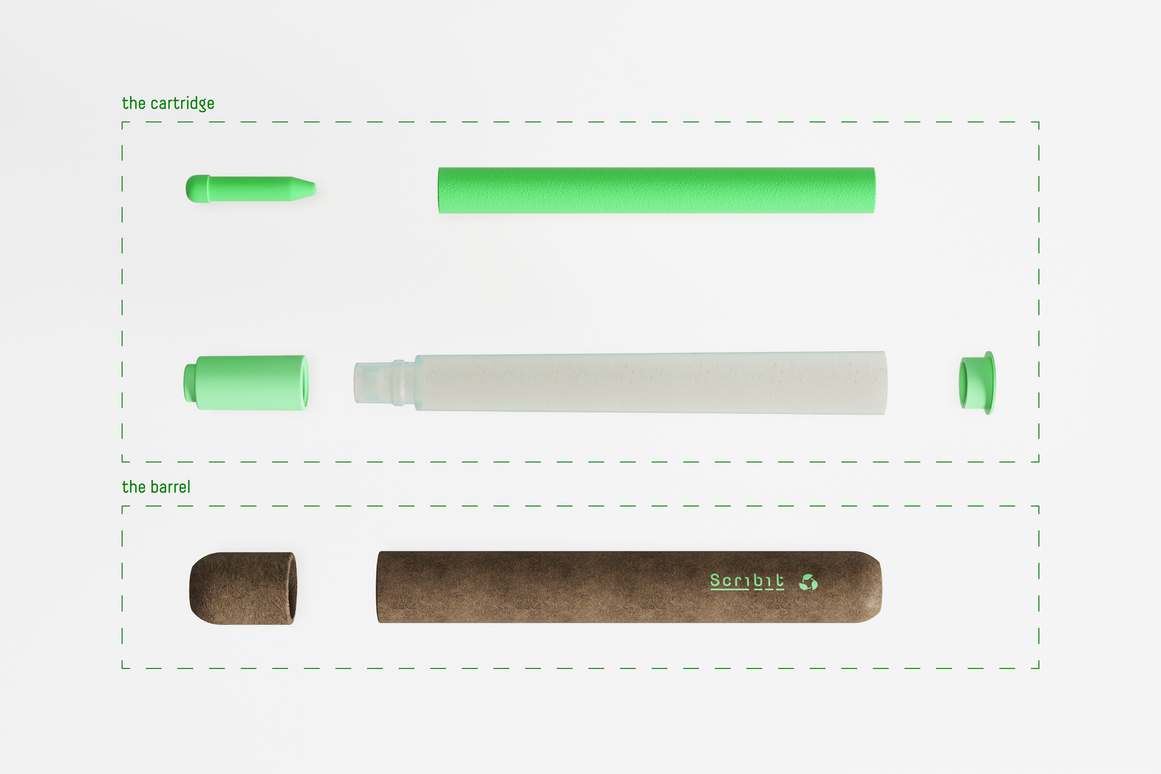 Exploded view of compostable Scribit Pen concept by Carlo Ratti Associati