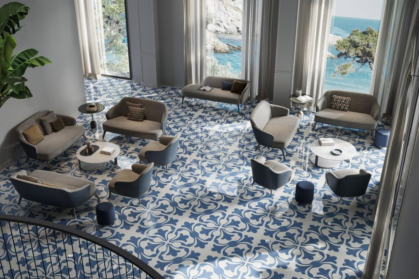 Fiore Blu in Riflessi tile collection by Ceramiche Refin