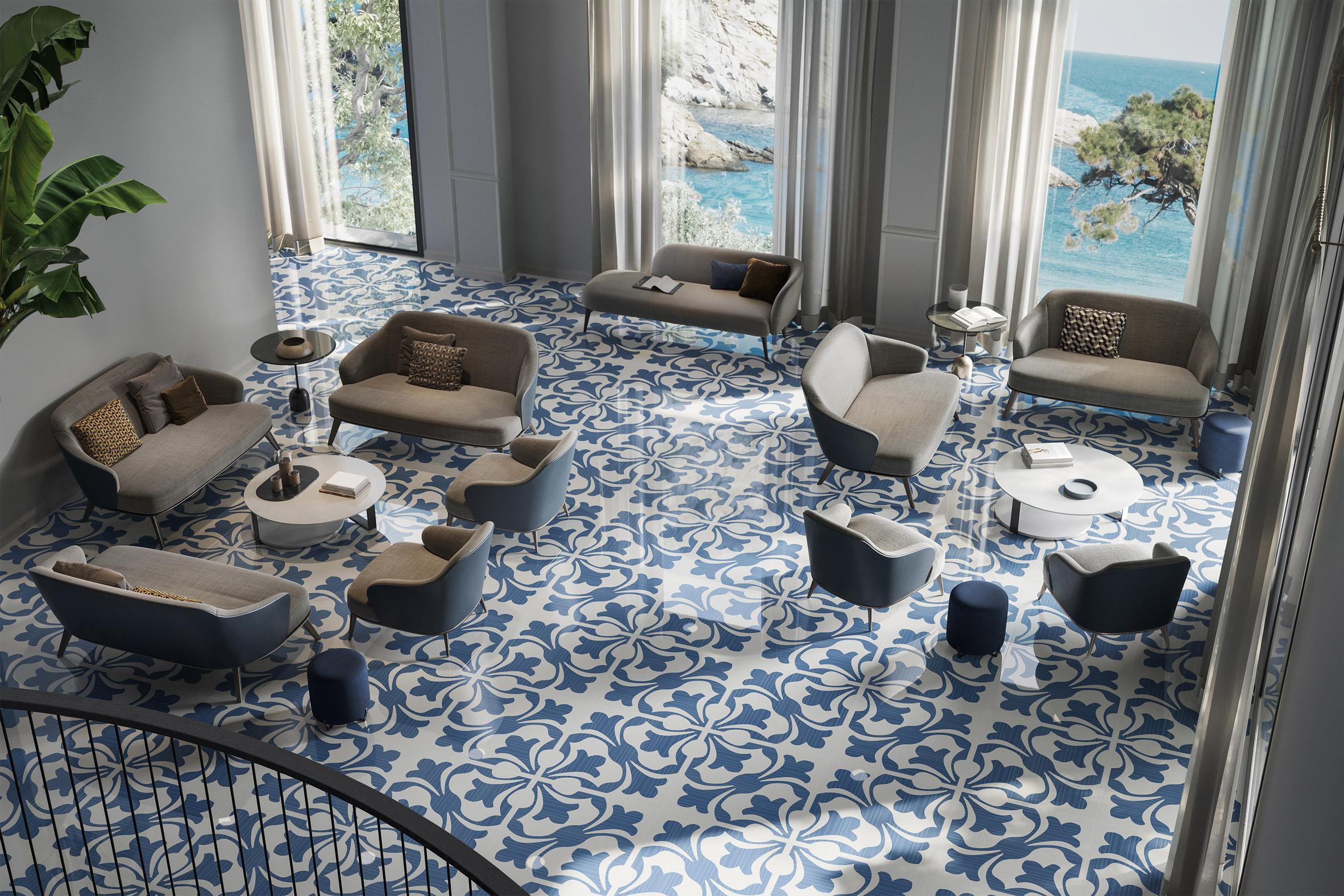 Fiore Blu in Riflessi tile collection by Ceramiche Refin