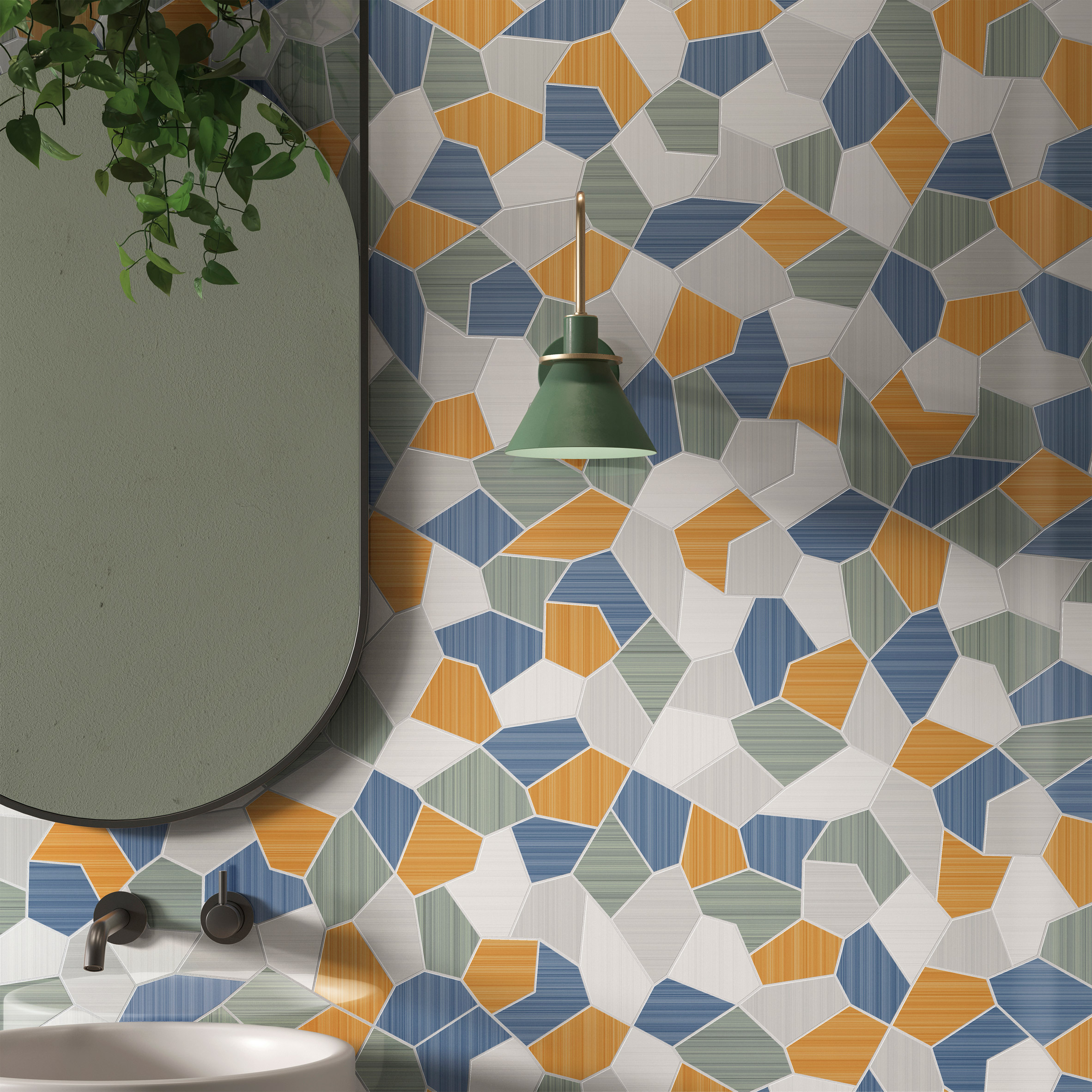 Caleidos Mosaico in Riflessi tile collection by Ceramiche Refin