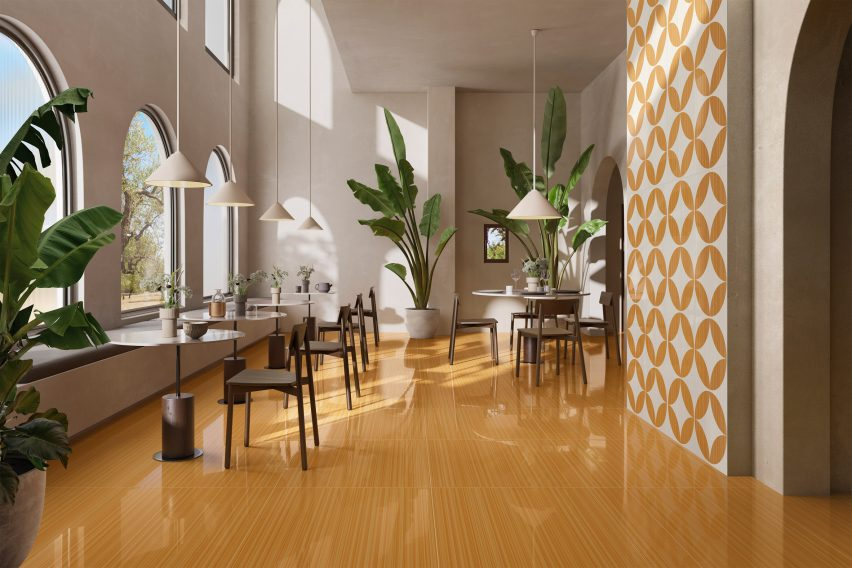 Arancio Fiore and Arancio in Riflessi tile collection by Ceramiche Refin