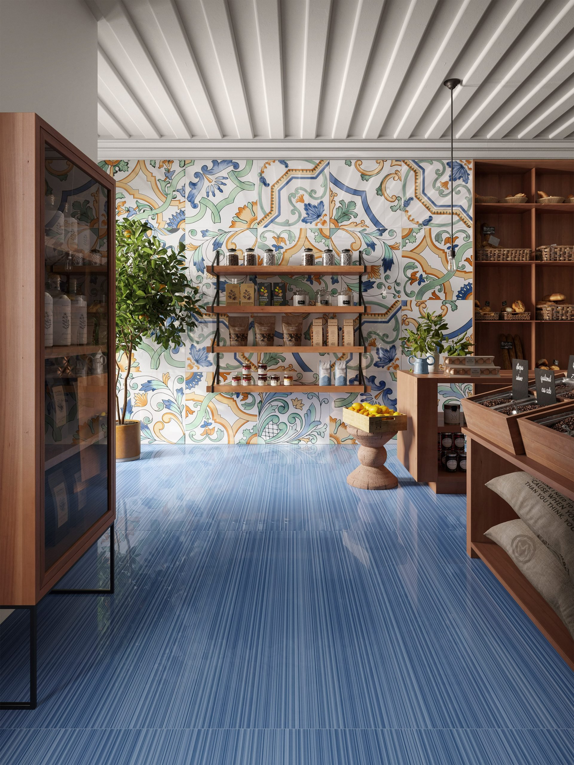 Blue and Amalfi in Riflessi tile collection by Ceramiche Refin