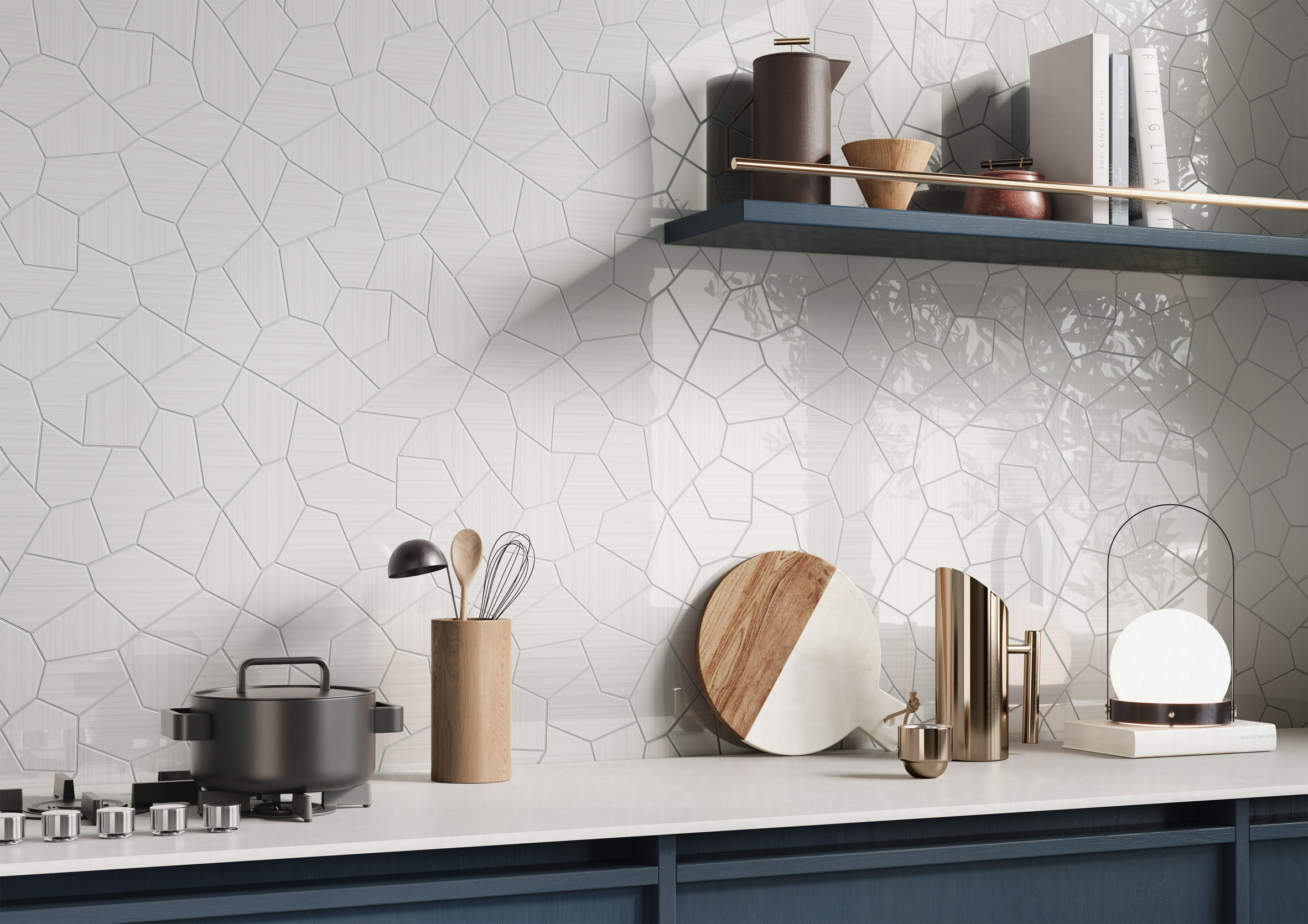 Caleidos Bianco in Riflessi tile collection by Ceramiche Refin